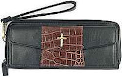 Leather Clutch Wallet With Cross Ladies