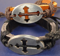 Leather Bracelet With Cross Cut Out