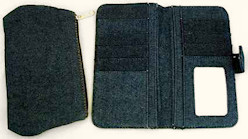 Blue Denim Wallet & Cosmetic Tote Set Woman's