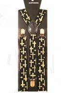 Men's Gold Cross Suspenders - Black Multi-Cross