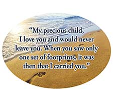 Footprints in the Sand Oval Magnet