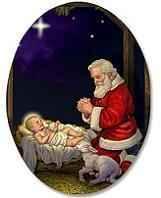 Adoring Santa Oval Magnet Christmas