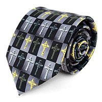 Black and Gray Celtic Cross Tie