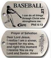 Baseball Dog Tag,  Jesus Christ Strength