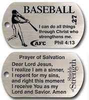 Baseball Dog Tag,  Jesus Christ Strength