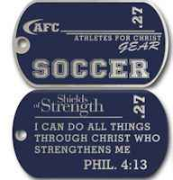 Soccer Christian Dog Tags Men's or Woman's