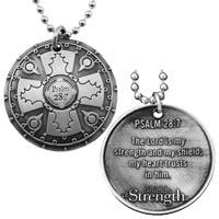 Christian Battle Shield Psalm 28:7 Necklace