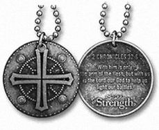 Christian Battle Shield Bible Quote II Chronicles 32:8 Dogtag