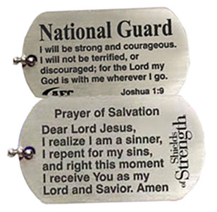 U.S. National Guard Joshua 1:9 Silver Dog Tag