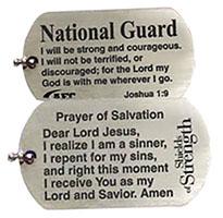 U.S. National Guard Joshua 1:9 Silver Dog Tag