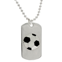 Never Give Up Soccer Dog Tag