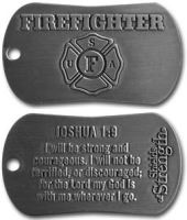 FireFighter Dog Tags I Will Be Strong Couragous