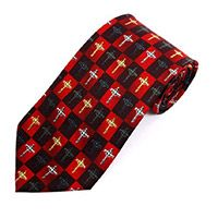 Crucifix Cross Men's Tie Red & Black