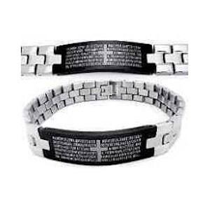 Men's Stainless Steel 2-tone The Lords Prayer Bracelet