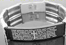 Men's Stainless Steel The Lords Prayer Cross Watch-Style Bracelet