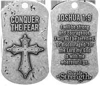 Conquer The Fear Dog Tag -Joshua 1:9