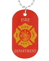FireFighter Shield Red Dog Tags