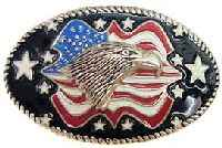 Eagle with Americian Flag Belt Buckle