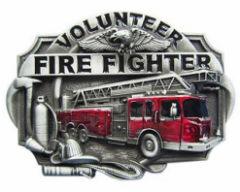 Volunteer FireFighter Belt Buckle Pewter