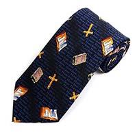 Men's Cross & Bible Tie Navy Christian