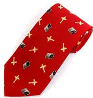 Men's Cross & Bible Tie Red Christian