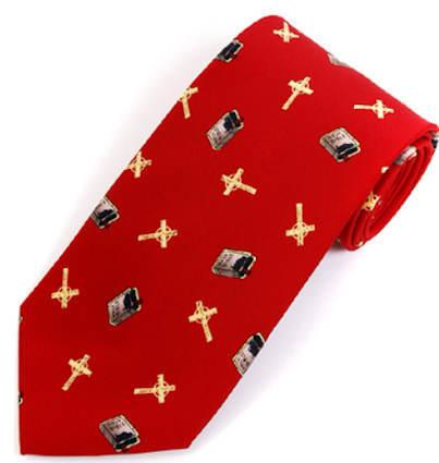 Men's Cross & Bible Tie Red Christian