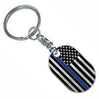 Thin Blue Line Police Key Chain