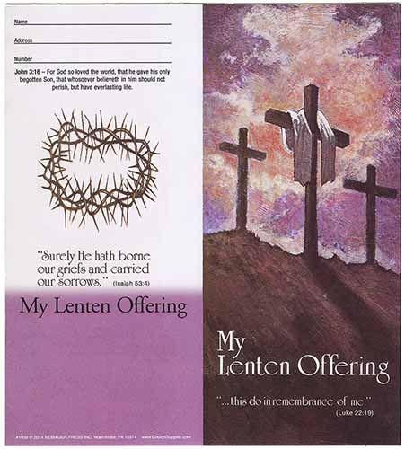 $10.00 Traditional Three Crosses Lenten Coin Folder (Pkg of 50)