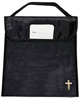 Book, Bible or Music Black Bag with Cross