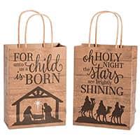 Nativity Barnwood Print Kraft Paper Gift Bags