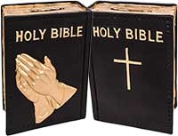 #74 Plastic Bible Praying Hands Bank