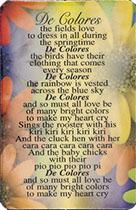De Colores Prayer Card Plastic