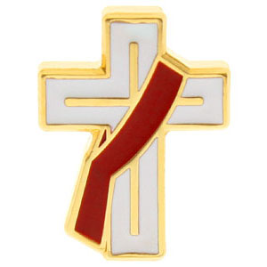 Deacon Cross Pin White, Red Stole