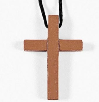 Wood Cross Necklace - Bargain Priced