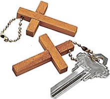 Inexpensive Wood Cross Key Chains