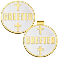 Round Greeter Pin or Tie Pocket Clip Back Gold