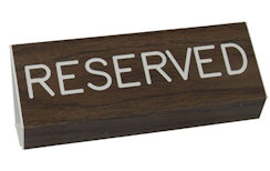 Reserved Pew Signs Walnut Grained Set of 2