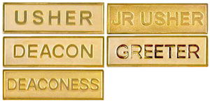 Gold Church Title Pins, Pin Backed