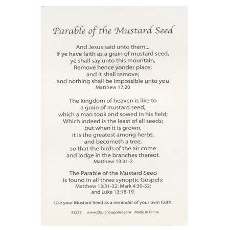 Faith Parable Mustard Seed Pocket Cards