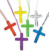 Plastic Cross Necklace Transparent