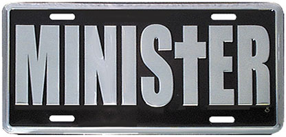 Minister Metal Auto License Plate