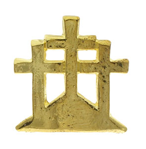 Easter Three Crosses Gold Pin