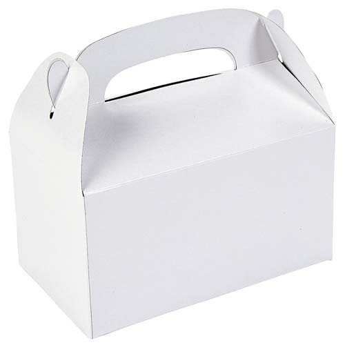 Goodie Gift Boxes White Unprinted Handle (Pkg of 24)