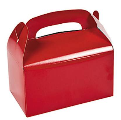 Red Treat Boxes with Handle Cardboard (Pkg of 24)