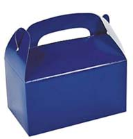 Blue Treat Boxes with Handle Cardboard (Pkg of 24)