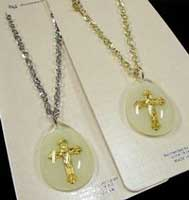 Clear Lucite  Pendant Gold Crucifix Cross