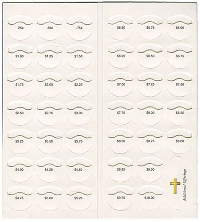 $10.00 Cross and Dove Coin Folders Inside