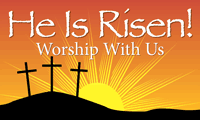 He Is Risen Banner, Worship With Us - Easter Banners, Church Banners