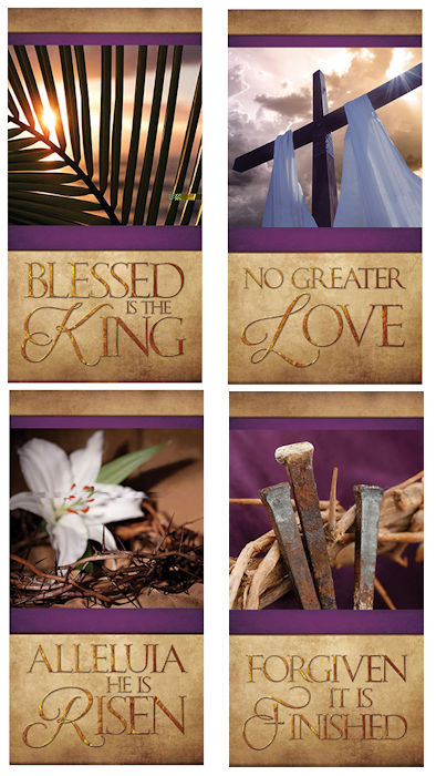 Easter Church Banners Set of 4 Large