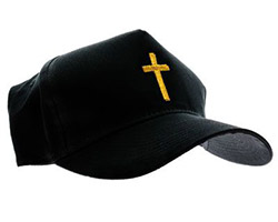 Christian Cross Black Baseball Cap, Gold or Silver